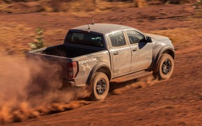 Picture grey, movement, earth, Ford, Raptor, pickup, 2018, Ranger