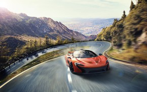 Picture road, car, machine, trees, mountains, speed, speed, Mclaren