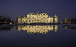 Picture lights, pond, reflection, castle, the evening, Austria, Vienna