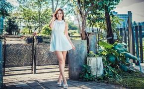 Picture summer, girl, red, model, figure, dress, legs, Asian