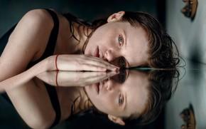 Picture girl, reflection, freckles, Juliana Naidenova