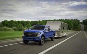 Picture road, blue, Ford, pickup, Super Duty, F-250, Tremor, 2020, Off-Road Package, F-series