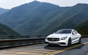 Picture Mercedes-Benz, Mountains, White, Forest, Machine, Mercedes, Car, Landscape, Render, AMG, Rendering, Sports car, White color, …