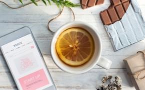 Picture lemon, tea, chocolate, mug, phone
