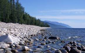 Picture forest, beach, water, mountains, lake, stones