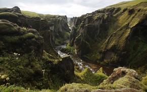 Picture river, vegetation, stream, ICELAND, Kon'on