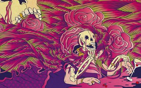 Picture flowers, berries, glass, skull, roses, skeleton, sake, acid, glass, berries, acid, skeleton, psychedelic art, psychedelic …