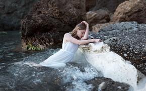 Picture girl, dress, in the water, Juliana Naidenova