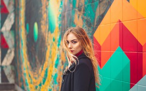 Picture look, wall, graffiti, blonde, wall, graffiti, look, blonde, Radu Florin