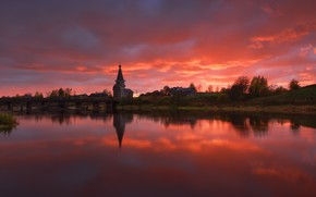 Picture sunset, river, temple