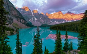 Picture forest, mountains, lake, Canada, Albert, Moraine