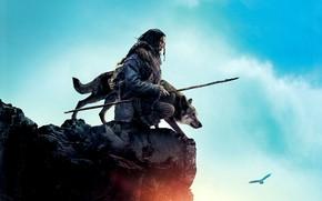 Picture the sky, clouds, rock, bird, wolf, warrior, eagle, adventure, poster, spear, hunter, Alpha, Alpha, Kodi …