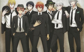Picture group, hat, red, glasses, tie, guys, white shirt, business suit, Yotsuba Tamaki, Ousaka Sougo, by …