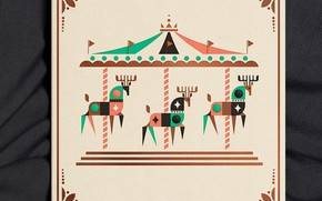 Picture carousel, deer, design, illustrations, Lagoon 2019 Holiday Card