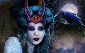 Picture girl, the moon, horns, crow