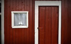 Picture house, the door, window, boat