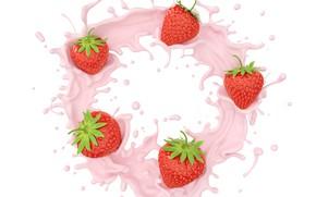 Picture white, squirt, berries, background, splash, strawberry, yogurt