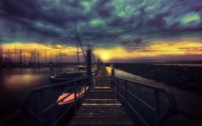 Picture night, shore, boats
