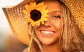 Picture summer, look, girl, face, smile, mood, portrait, sunflower, hat, Christopher Rankin