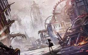 Picture the city, fantasy, girl, ruins