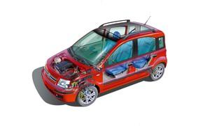 Picture car, cutaway, fiat panda