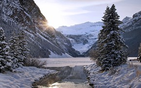 Picture ice, winter, forest, the sun, snow, mountains