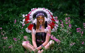 Picture grass, girl, flowers, pose, feathers, paint, roach, Vyacheslav Turcan, Evgeniya Ivanova