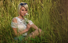 Picture grass, look, girl, blonde, Anastasia, a bunch, Dmitry Medved