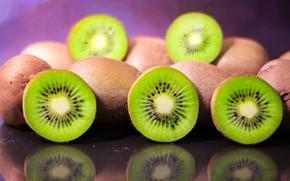 Picture kiwi, fruit, halves, chopped