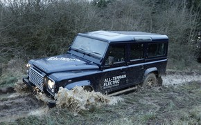 Picture dirt, prototype, Land Rover, Defender, 2013, All-terrain Electric Research Vehicle