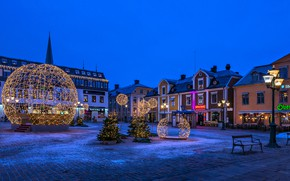 Picture building, home, Christmas, lights, Sweden, night city, Sweden, Linköping, square, Linkoping