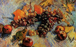 Picture Vincent van Gogh, Pears, Still Life with Apples, Lemons and Grapes