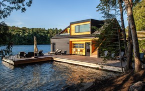 Picture lake, Villa, architecture, terrace, a house on the water, exterior, Boathouse, featured, Lake Joseph