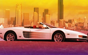 Picture The city, Ferrari, 80s, Testarossa, VHS, 80's, Synth, Retrowave, Synthwave, 512 TR, Ferrari Testarossa 512 …