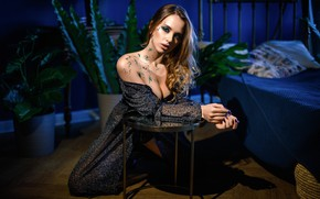 Picture look, sexy, pose, model, paint, bed, portrait, plants, makeup, dress, hairstyle, brown hair, beauty, sitting, …