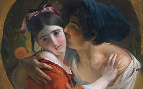 Picture kiss, a guy and a girl, After Feodor Antonovich Moller, THE KISS
