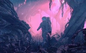 Picture Trees, The suit, People, Forest, Planet, Astronaut, Astronaut, Art, Fiction, Rendering, by Beeple, Beeple, WRONG ...