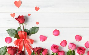 Picture love, flowers, heart, roses, petals, hearts, love, heart, pink, romantic, petals, roses, valentine`s day