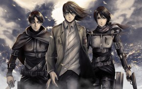 Picture art, characters, Attack Of The Titans, Shingeki No Kyojin, by redwarrior3