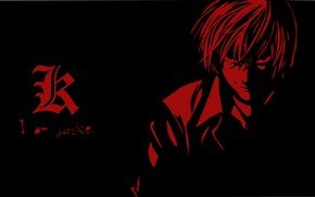 Picture minimalism, guy, Death Note, black background, Light Yagami, Dead Note
