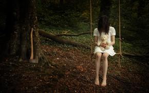 Picture girl, swing, bear, axe
