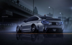 Picture Auto, BMW, Machine, Grey, Art, COUPE, Rendering, BMW M4, Dark side, M4, Dmitry Strukov, Dizepro, …