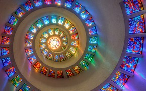 Picture colorful, window, Texas, Dallas, spiral, stained glass, mesmerizing, Thanksgiving Square Chapel