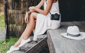 Picture relax, legs, woman, rest, hobby, photo camera