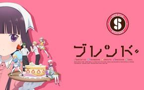Picture guys, pink background, characters, tray, apron, strawberry cake, Blend S, by Nakayama Miyuki, Mafuyu Hoshikawa