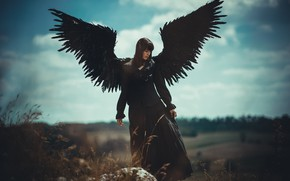 Picture the sky, girl, clouds, pose, woman, clothing, stone, height, wings, angel, feathers, figure, brunette, black, …