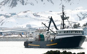 Picture ice, winter, fishing boat