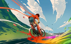 Picture Fantasy, Clouds, Sky, Digital Art, Colors, Bicycle, Road, Travel, Concept art, Illustration, Outdoors, Artwork, Outside, …