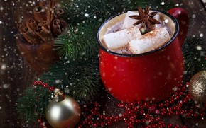 Picture snow, New Year, Christmas, Christmas, wood, snow, New Year, cocoa, decoration, Merry, fir tree, hot ...