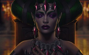 Picture girl, face, piercing, ring, art, succubus, evelyn